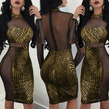 New 2019 Spring Womens Hot Stamping Sexy Nightclub Perspective Dress Party Dresses