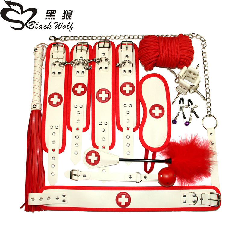 New nurse 10pcs 7pcs Sex Toys for Couples Exotic BDSM Sex Bondage Set Erotic Accessories Handcuffs Whip Rope Adult Games in Adult Games from Beauty Health