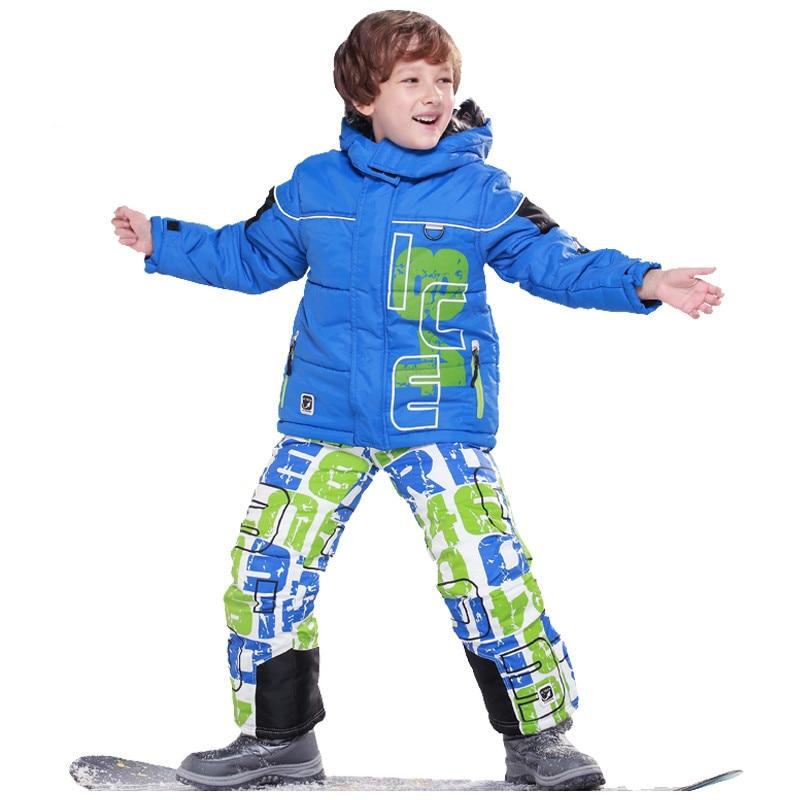 Children christmas Clothes Warm Coat Sporty Ski Suit Kids Clothes Sets Outerwear Waterproof Windproof Boys Jacket For -30 Degree 2015 new arrive super league christmas outfit pajamas for boys kids children suit st 004