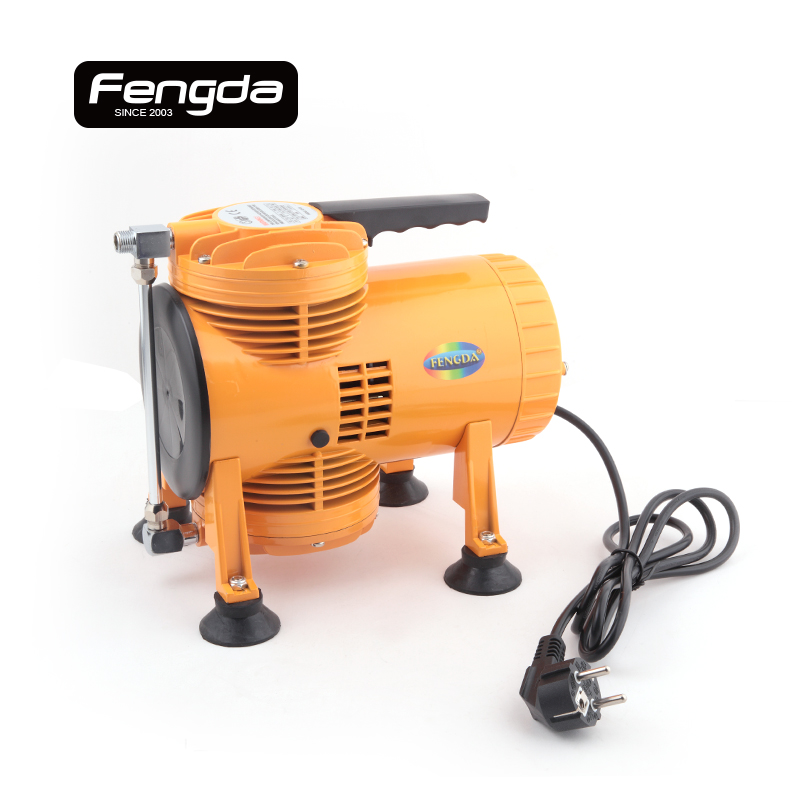 Fengda oil free mini air compressor AS-08 air pump body paint tattoo connect with airbrush spray gun oil free air compressor high pressure gas pump spray woodworking air compressor small pump 800 30l