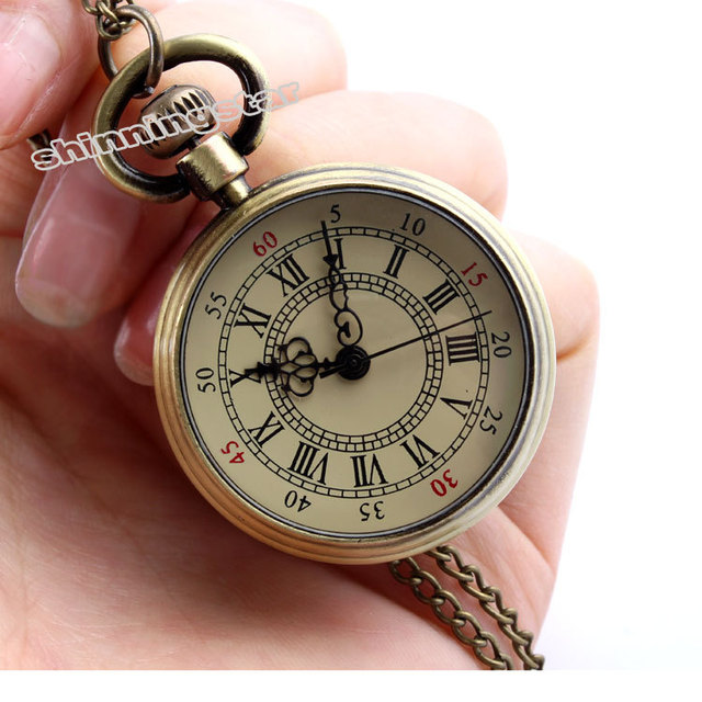 2014 New 1PC Pocket Watch Quartz Roman Numerals Bronze Tone Steampunk 82cm Dropshipping