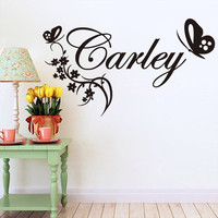 Wall Decal Butterylies Flower Personalised Name Vinyl Wall Sticker Name Custom Baby Gitls Bedroom Art Wall