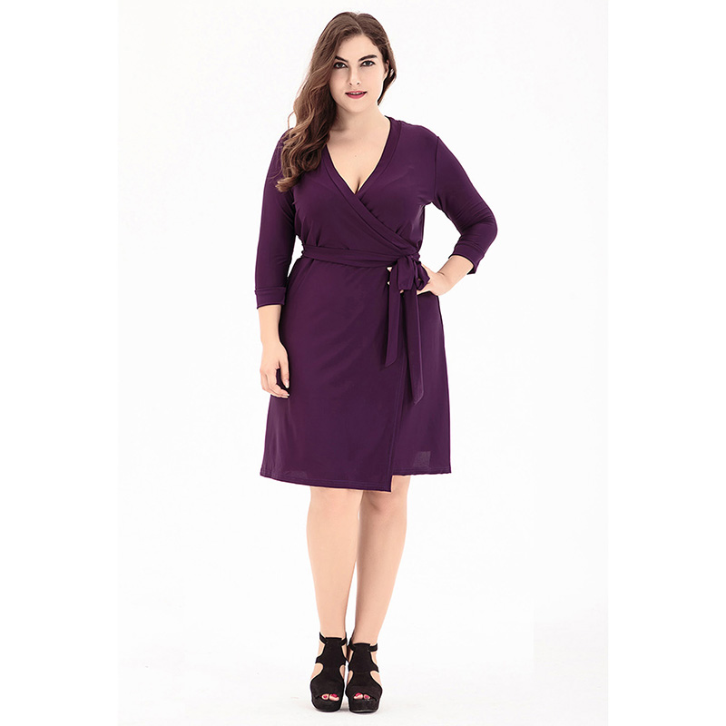 US $25.63 30% OFF|2018 women new Elegant Casual plus size dress Vestidos  Solid fat mm Large size Summer dress Big Size short dresses purple/black-in  ...