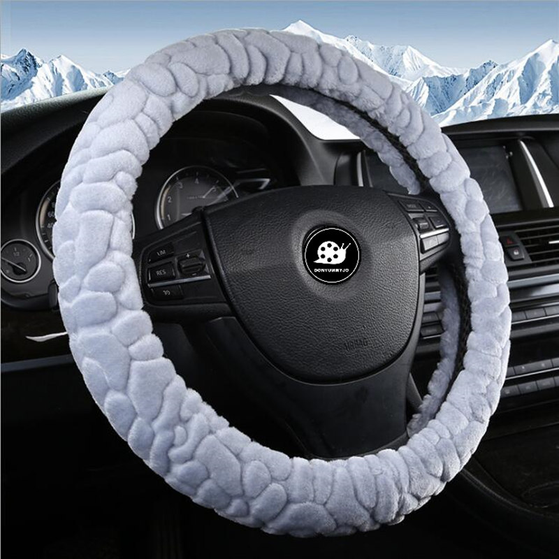 DONYUMMYJO Hot Sell Pearl velvet Winter Car Steering Wheel Cover 38CM/15 Soft Warm Plush Anti-catch Holder Protector