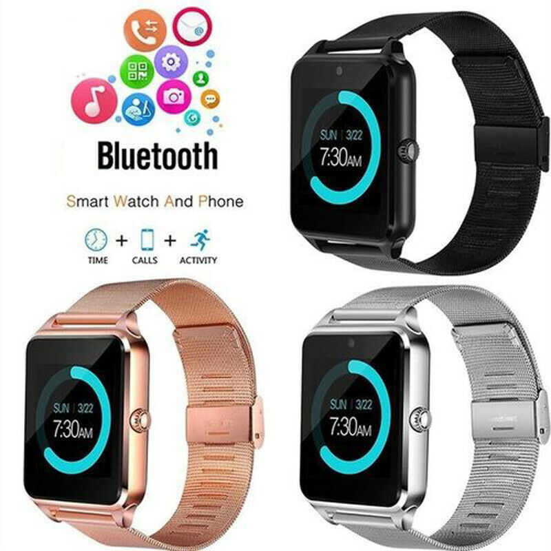 New Z60 Smart Watch Phone Stainless Steel Strap GSM SIM Bluetooth Smartwatch For Samsung iPhone Android iOS 3E10