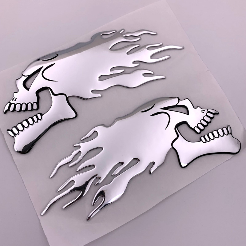 FASP 2Pcs/Pair  Silver Fire 3D  Ghost Skull Head Auto Motorcycle Car Sticker Emblem Decals