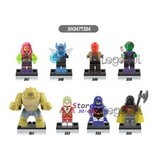 1PCS model building block superhero Starfire Blue Beetle Red Hood Beast Boy Saturn Girl crow Robin toys for children gift(China)