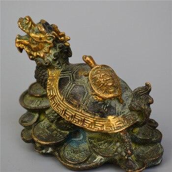 Collect rare sculpture pure bronze gilded sculpture tortoise sculpture size 10x9x5cm dragon turtle sculpture and other