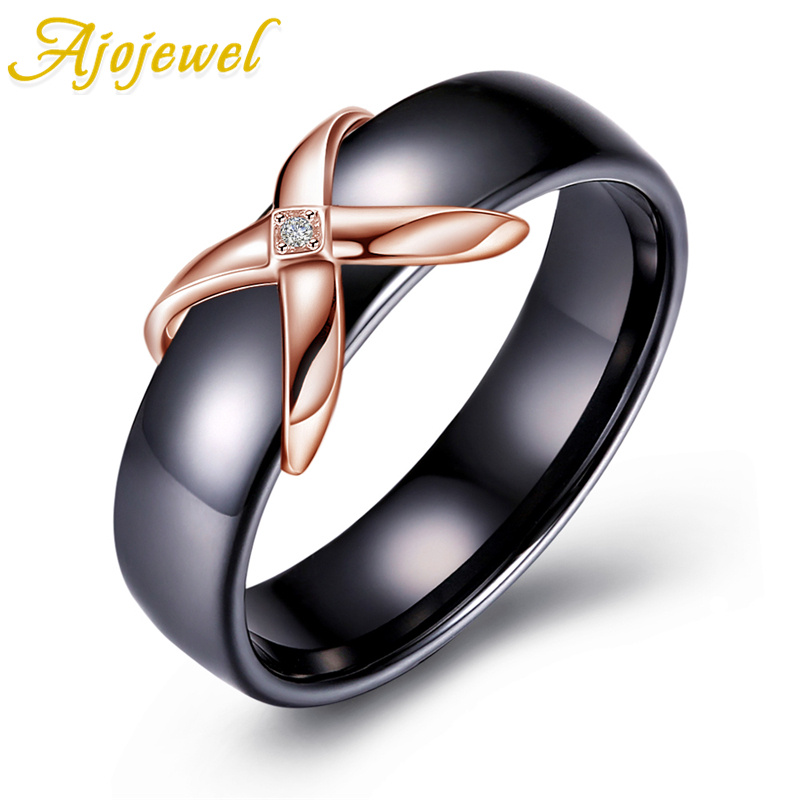 Ajojewel Beautiful Smooth Black Ceramic Ring For Woman Top Quality CZ & 925 Sterling Silver Jewelry For Women Wedding Gift