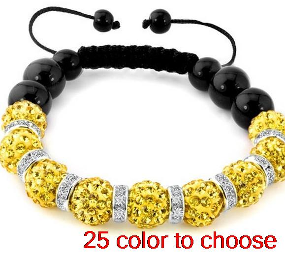 10mm multicolor mixed stone disco ball new Beads Crystal crystal Bracelets NHIOEW spacer rhinestone lot