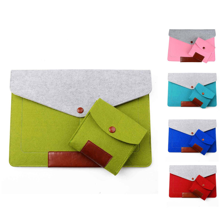 Felt 111213 Laptop Sleeve Pouch For Macbook Air/Pro/Retina 13.3 inch Ultrabook Cover Case Notebook Inner Bag with mouse bag