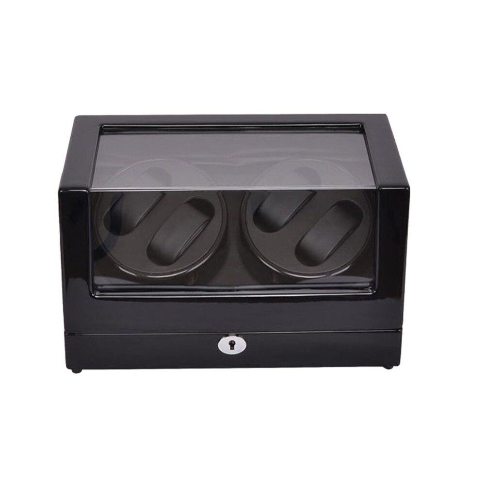 Заводчик для часов, LT деревянный автоматический поворот 4 + 0 заводчик для часов чехол для хранения дисплей коробка (черный черный)