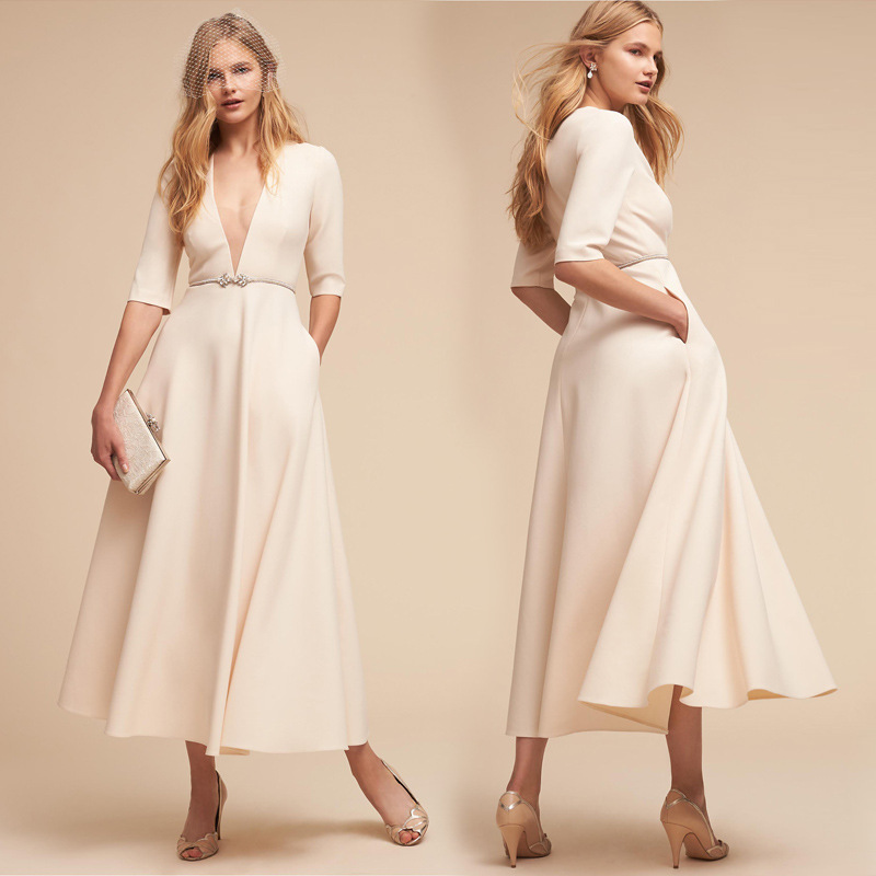 Autumn Elegant Vintage Evening Party White Dress Sexy Half Sleeve Deep V-Neck Maxi Long Dress Summer Ankle-Length Bodycon Dress