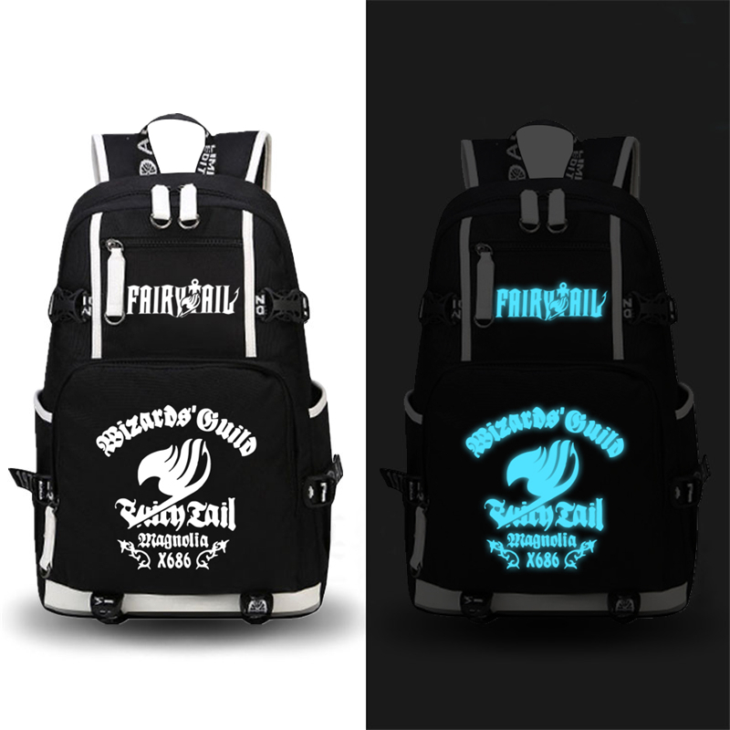 High Quality Hot Anime FAIRY TAIL Natsu Luminous Printing Military Backpack School Backpacks for Teenage Girls Canvas Bags  free shipping korean version candy colors fairy tail logo printing man woman canvas schoolbag red green black blue backpacks