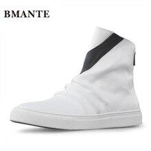 Брендовые черные ботинки из натуральной кожи; белые брендовые Модные мужские повседневные ботинки с высоким берцем; обувь с высоким берцем на молнии; ботинки в стиле хип-хоп для мужчин