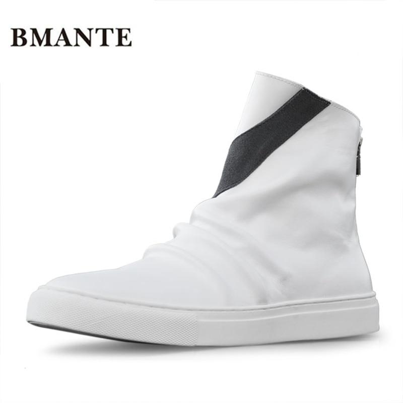 купить Real leather brand black booties White brand fashion male Casual hightop shoe Footwear high top zipper tide hip hop boot for men по цене 5025.7 рублей