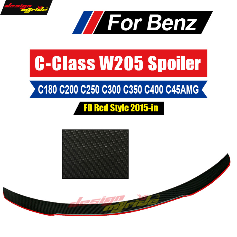 W205 wing Rear Spoiler With Red Line 2 door FD Style Carbon For Benz W205 C180
