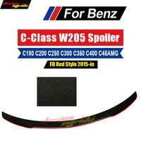 FD Style With Red Line for Mercedes Benz W205 C180 C200 C250 C300 C63 C45AMG C Class 2 door Carbon Fiber Rear Spoiler 2015 2018