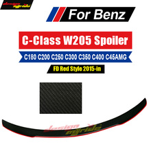 цена на W205 wing Rear Spoiler With Red Line 2-door FD Style Carbon For Benz W205 C180 C200 C250 C300 C63 C45AMG wing Rear Spoiler 15-18