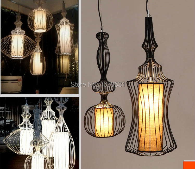 Black & White Wires Wrought Iron Pendant Lights Linen Silk Shade Birdcage Pendant Lamps Bedroom Foyer Restaurant Lamp 110-240v free shipping pendant lights rustic white candle iron 3 5 6 white lamps foyer pendant light restaurant dining pendant lamp