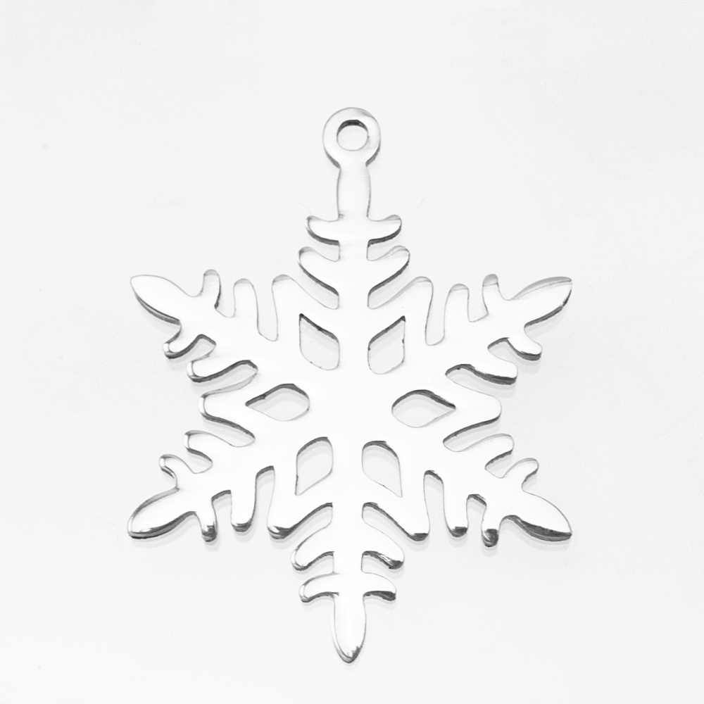 Snowflake Charms Necklace&Pendants for women diy Jewelry Mirror Polish Stainless Steel Pendant Wholesale 10pcs