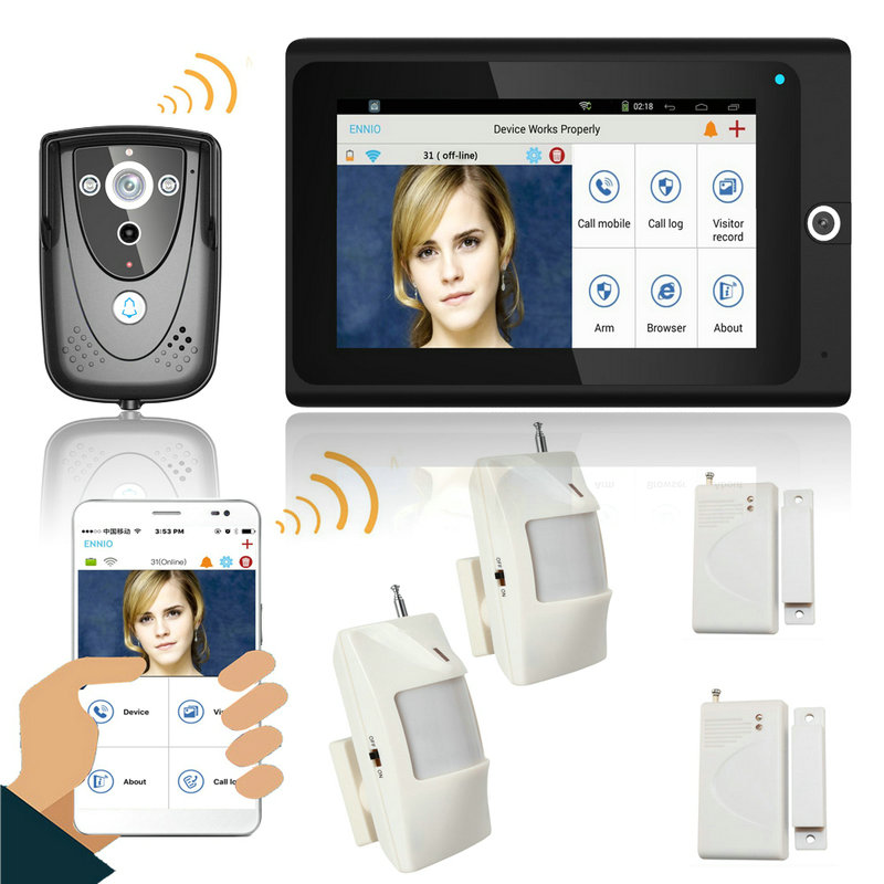 7 Wifi Wireless Video Door Phone Intercom Doorbell IP Camera PIR IR Night Vision Home Alarm System Mobile App Remote Monitor
