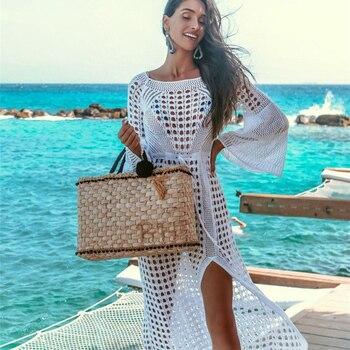 a9e16539623defd Вязаное вязаное белое пляжное платье-туника с Вырезами Бикини купальник пляжная  одежда пляжное парео