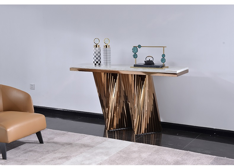 Table Console de 85 cm de haut avec cadre en acier inoxydable doré/Table en marbre de 150 cm de Long/longueur personnalisée pour espace de fantaisie