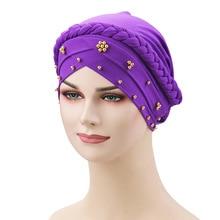 soft hijab muslim scarf caps hats silamic turban banadanas fashion beads wrap headcovers nigerian