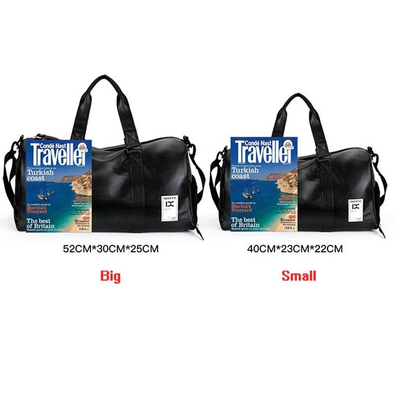 100b977f25fd Black Leather PU Sport Bag For Gym Football Fitness Sport Portable Shoulder  Bag With Shoes Storage