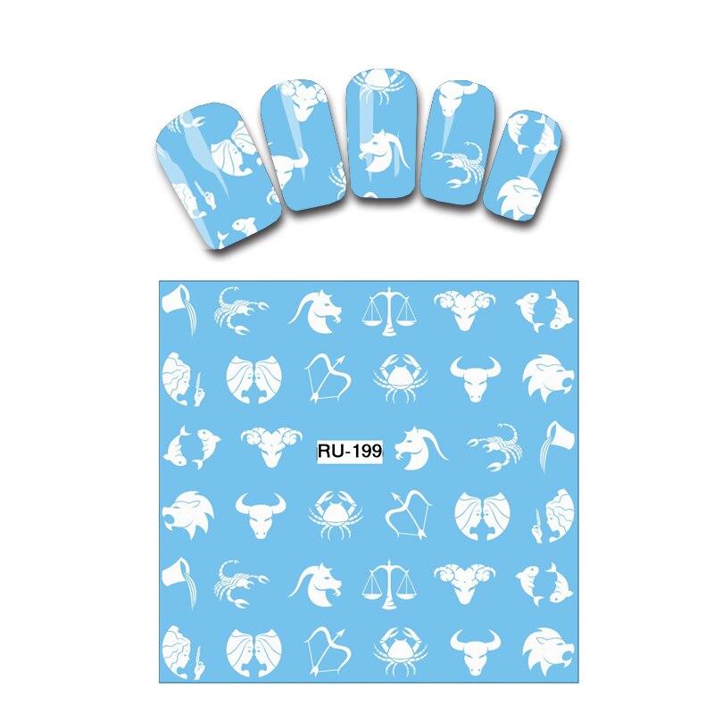 Water Transfer Decal Nail Sticker WHITE CARTOON CONSTELLATION ZODIAC SIGN RU199