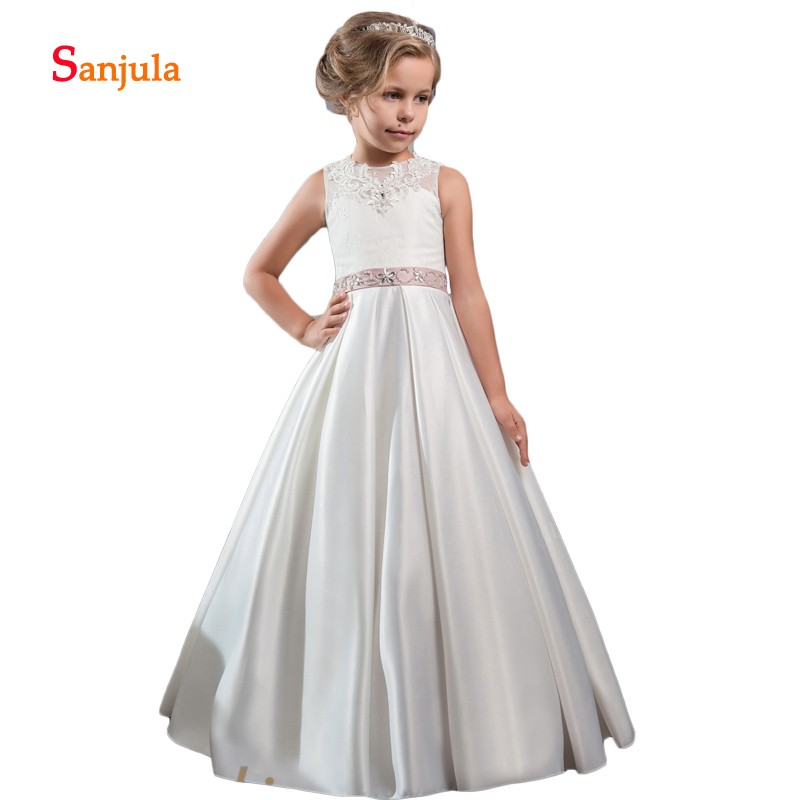 Ivory Satin A-Line   Flower     Girls     Dresses   Tank Appliques Beaded Open Back Wedding Party   Dress   for Children vestido daminha D195
