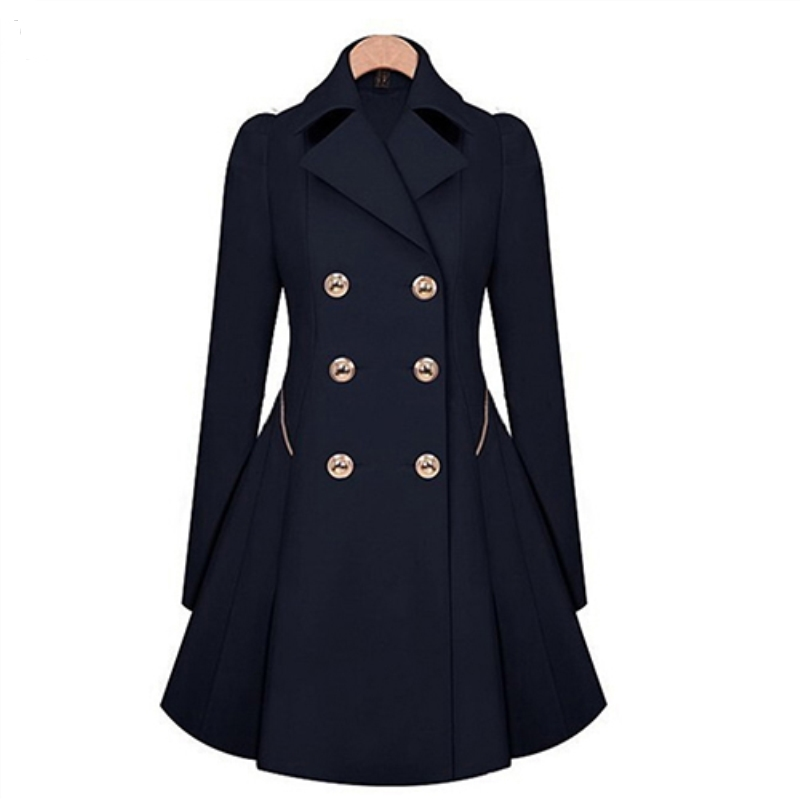 Ladies Fashion Lapel Long Winter Coat Double-breasted Outwear Slim Fit Dust Coat