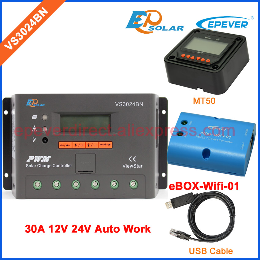 PWM New series solar battery controller Wifi BOX and USB cable connect VS3024BN 30A 30amp remote meter MT50 EPEVER Brand vs3024bn new pwm controller network access computer control can connect with mt50 for communication