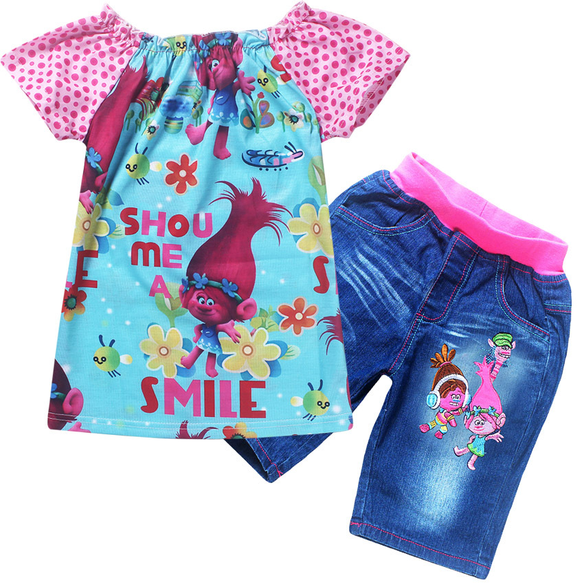 2017 Summer Girls jean Clothing Set Trolls T-shirt +Jeans Shorts For Baby Girls Poppy Costume Cotton Tees Children Tops For Kids 1 7y toddler kids clothes 2017 fashion children girls leopard hooded vest t shirt tops hole jean denim shorts 2pcs clothing set