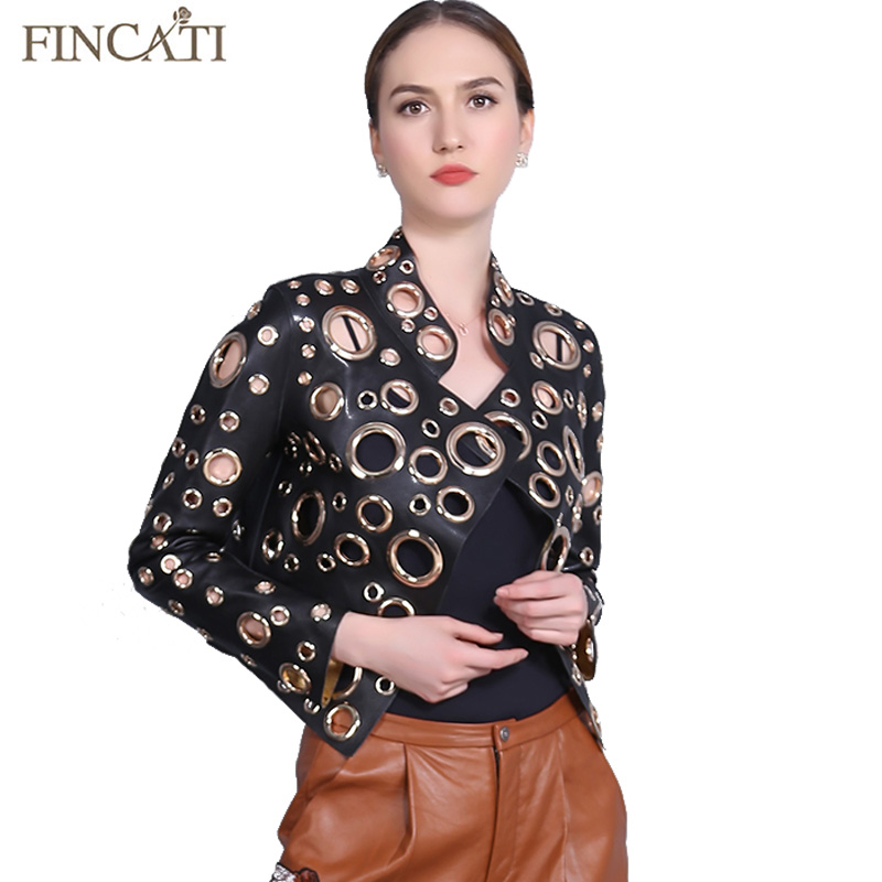 Women Jacket 2018 New PU Leather Punk Metal Circle Rivets Hollow Out Holes Motorcycles Coat Streetwear Outwear Coat Clothing