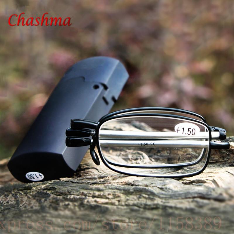 2017 MINI Design Reading Glasses Men Women Folding Small Glasses Frame Black Metal Glasses With Original Box Gafas