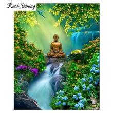 REALSHINING 5D Diy Diamond Painting,Waterfall Flower BuddhaFull square mosaic Single picture of Rhinestone,Europe decor FS2944