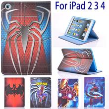 Case for Apple iPad 2 3 4 iPad4 Tablets Case Cartoon Super man Spiderman Book Flip
