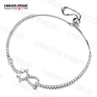 New Design Real Silver 925 CZ Stone White Gold Tone Cute Cat Charm Girl Bracelet Adjustable Tennis Bracelet