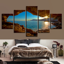 Canvas HD Prints Posters Wall Art Framework 5 Pieces World Outside Cave Paintings Sunset Seascape Pictures Home Decor Kids Room