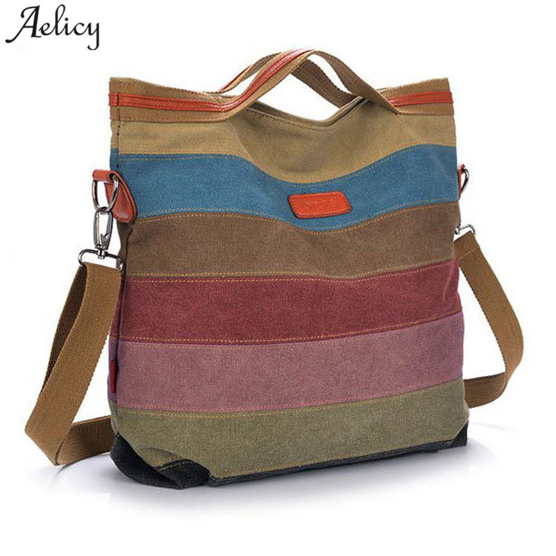 Aelicy 2018 Fashion Women Bag Canvas Handbag Messenger Bag for Girls Stripe Messenger  Bag Women Handbag Cross body Bolsa 91c6004b91dc4