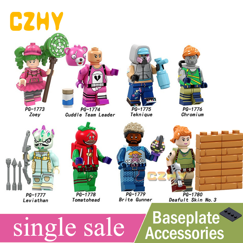Building Blocks Game FortnightED Tomatohead Zoey Teknique Chromium Leviathan Brite Gunner Minifigured Toys for Children PG8203(China)