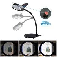купить Dimmable Table & Desk Magnifier Lamp Daylight Bright Magnifying Task Lamp 3X/10X Magnify Glasses Lens for Crafts, Drafting-Black дешево