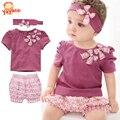 2015 Ropa para bebés hembras ropa para recién nacidas juego de ropa de verano camisita de mangas + sombrero + pantalones ropa de bebé