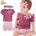 Conjuntos de roupas de verão para menina bebê recém-nascida, macacão vestuário para bebê sucesso 2015, (Babador+Toca+Calças de manga) roupa de bebê de uma peças para bebê menino