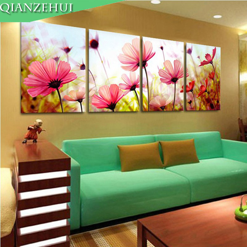 QIANZEHUI,Needlework,DIY Cross Stitch,Sets For Embroidery Kits,Romantic Pink Flower Four Painting Counted Cross-Stitching