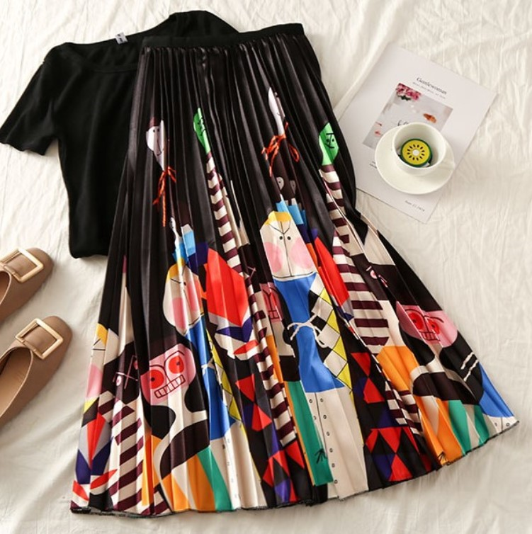 EU Style Woman Printed Midi Skirts Fashion Female Casual Pleated Skirts Summer Skirts For Woman