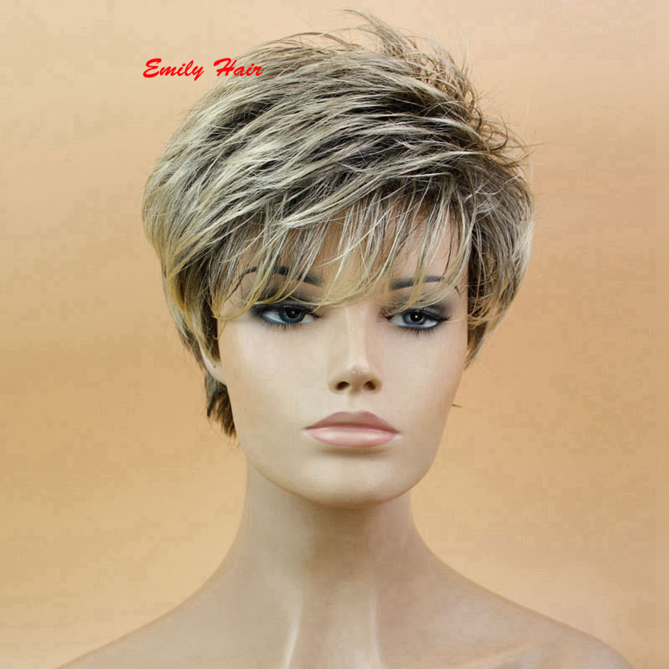 Fashion Short Afro Short Pixie Cut Style Wig With Bangs Synthetic African  American Wigs Peluca Blanca For Cosplay d973fdac9