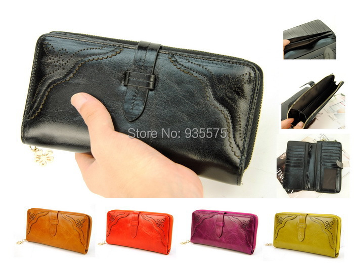 Women Genuine Real Leather Bifold Wallet Credit Card Holder Vintage Retro Coin Zip Purse Bag Cellphone Mobile Checkbook Clutch